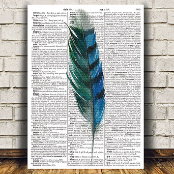 Feather poster Dictionary art Watercolor print Bird print RTA1241