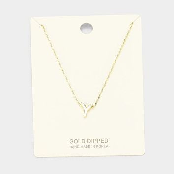 'Y' Gold Dipped Metal Pendant Necklace