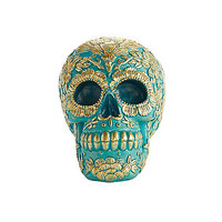 Teal and Gold Sugar Skull Figurine - Decorations - Spirithalloween.com