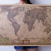 Choose size: The World Map Large Vintage Style Retro Paper Poster Home wall decoration
