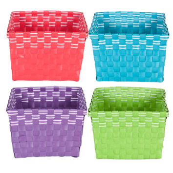 "Bulk Brightly Colored Square Woven Plastic Baskets, 8"" at DollarTree.com"