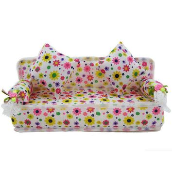 Mini Furniture Sofa With Flower Print Cushion Bolster For girl's princess dream Doll Dollhouse