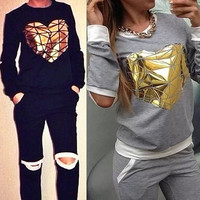2015 New Spring Autumn sports Suits 2Pcs Set Golden Heart Pattern Women Jogging Cotton Tracksuits Casual SportWear = 1930430852