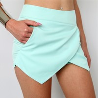 PASTEL MINT CROSSOVER WRAP DOUBLE POINTY SKORT SHORTS 6 8 10 12
