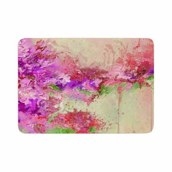 "Ebi Emporium ""When Land Met Sky 3"" Pink Green Memory Foam Bath Mat"