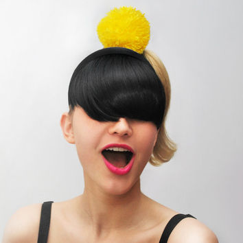 UTHA yellow pom-pom  hair bobble / hair accessories