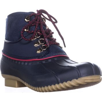 Tommy Hilfiger Rinah Lace Up Rain Boots, Dark Blue, 8 US