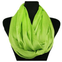 Delicate Days Lightweight 100% Rayon Lime Green Infinity Scarf