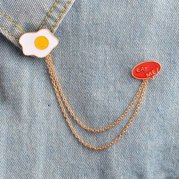 Omelette Eggs and eat me tassel pins Backpack Denim jackets Jeans Bag Hat Decoration Accessories Hard enamel pin Food jewelry