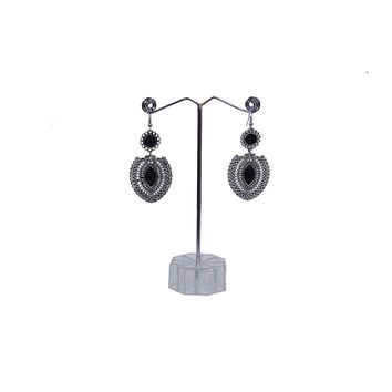 Antique Silver Created Black Onyx Opal Teardrop Earrings with Secure Wire and Hook Backs