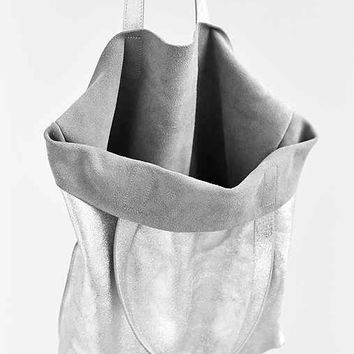 Silence + Noise Metallic Leather Tote Bag- Silver One