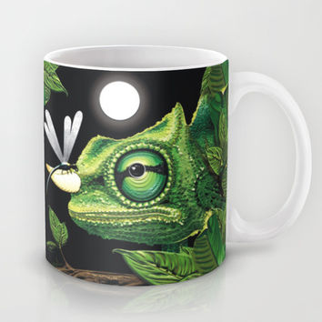 Chameleon and Dragonfly on Moonlight Mug by BluedarkArt