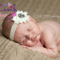 Ivory Sparkle Baby Headband, Shabby Chic Headband, Couture Headband, newborn baby girl headband photography props - vintage couture boutique