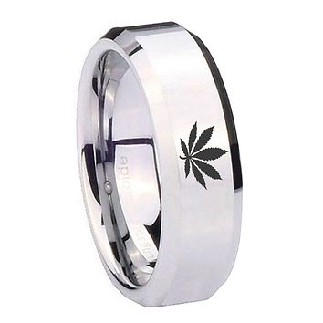 8MM Mirror Bevel Edges Leaf Silver Tungsten Laser Engraved Ring