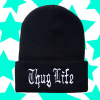 Thug Life Old English Tupac Beanie / Black and White Womens Knit Woven Embroidered Unisex Hat