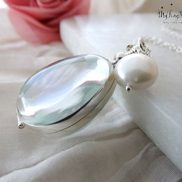 Glass Locket Necklace Memory glass Locket Photo Locket Sterling silver Glass Photo Locket Pear Shaped Clear Locket