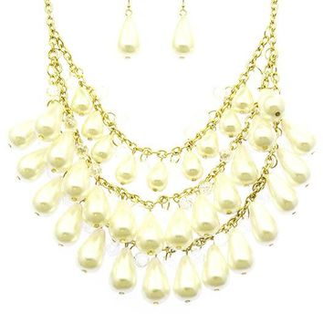 Pearl Bead Link  Glass Bead Chunky Necklace Earring Set