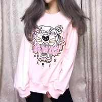 Kenzo Fashion Letter Tiger Head Embroidery Long Sleeve Sweater Women Casual Tops