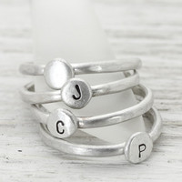 Personalized Pebble Stack Rings - Handmade Hand Stamped Boho Sterling Silver Rings - Minimalist Initials Stackable Ring - Christina Guenther