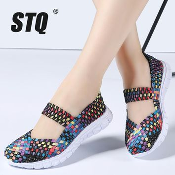 STQ 2018 Summer women flats shoes women woven shoes flat casual shoes flip flops female multi colors loafers ladies shoes 577