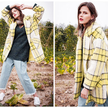 wool coat,plaid coat,plaid jacket,yellow coat,womens jackets and coats,oversized coat,oversized jacket,womens coat.wool jacket.--E0793