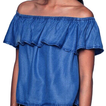 Off The Shoulder Blouse Ruffle Jean Denim Shirt Women Cropped Crop Tops Blue Casual  Shirt Summer 2016 Fashion