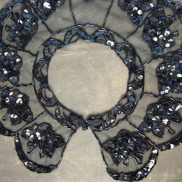 Vintage Beaded Collar with Black Sequins - Burlesque Capelet - Gothic Bride - Beaded Shoulder Wrap