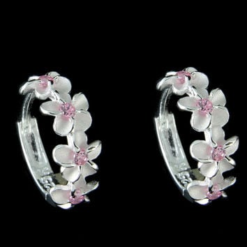 STERLING SILVER 925 HAWAIIAN 4 PLUMERIA FLOWER SMALL HOOP EARRINGS PINK CZ