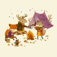 Critters: Fall Camping Art Print by Teagan White