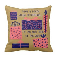 Have a holly jolly Christmas, navy/coral/gold Throw Pillow