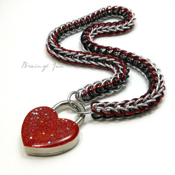 Chainmail Slave Collar Silver Red and Black with Sparkly Blood Red Heart Shaped Padlock