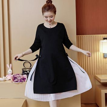 Dresses For Pregnant Maternity Dresses Clothes For Pregnant Women Pregnancy Clothing Stretch Cotton Pregnant Dress 2pcs Y713