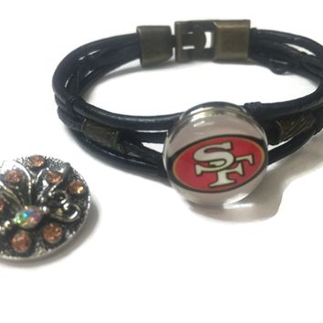 NFL Fashion Snap San Francisco 49ers Logo Leather Bracelet  With 2 Charms For Football Fans