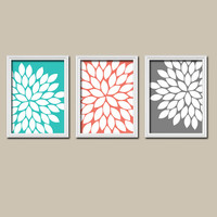 Turquoise Coral Charcoal Gray Flower Burst Dahlia Bloom Petals Artwork Set of 3 Trio Prints WALL Decor Abstract ART Picture Bedroom Bathroom