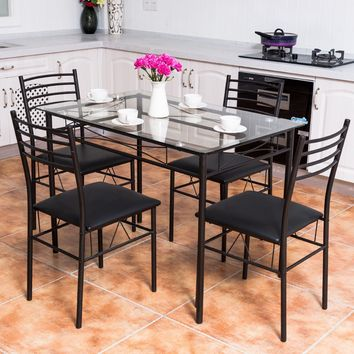 5PC Dining Set Modern Dining Room Tempered Glass Top Table & 4 Upholstered Dining Chairs Kitchen Furniture