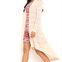 Long Sleeve Marled Knit Long Duster Sweater
