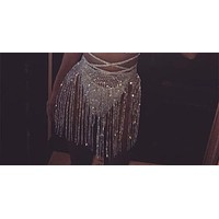 "23"" - 36 crystal rhinestone fringe skirt waist belly body chain bikini swimsuit 16"" drop"