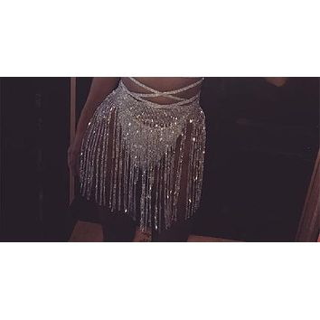 crystal rhinestone fringe skirt waist belly body chain bikini swimsuit