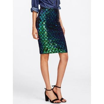 Iridescent Diamond Sequin Pencil Skirt