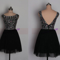 2014 short black tulle homecoming dress with rhinestons,best cheap beaded prom gowns on sale,chic women dress for holiday party.