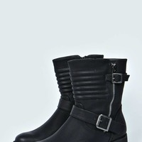 Tara Quilt And Zip Trim Biker Boot