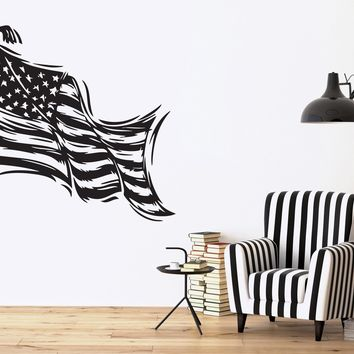 Vinyl Decal Patriotic Decor Wall Sticker Stars Striped Symbol of the State Flag of USA Unique Gift (n370)