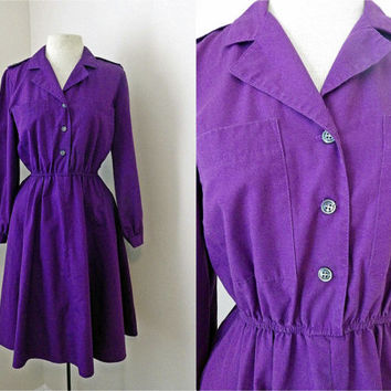 Vintage 60s 70s American Shirt Dress // Deep Purple // Button Up // Full Skirt // Small Medium