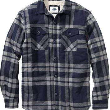 Men's Faux-Shearling-Lined Flannel Shirt Jackets