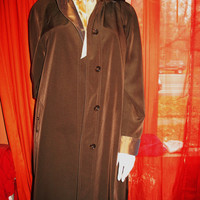 Amaizing Vintage GALLERY Hooded Trench Raincoat  W  Lining  Brown Size 10 Very Long