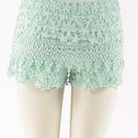 Bashful Vanity Floral Lace Shorts in Soft Mint | Sincerely Sweet Boutique