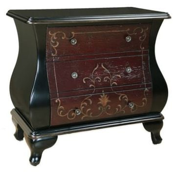 Pulaski Louie Hand-Painted 3-Drawer Bombe Accent Chest in Red/Brown