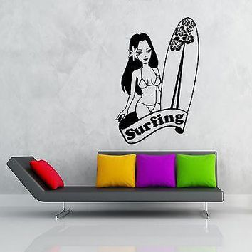 Wall Stickers Vinyl Decal Hawaii Girl With Surfboard Surfing Ocean Unique Gift (z1901)