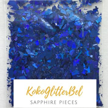 Holographic Glitter Pieces- Sapphire