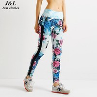Fashion Design Patchwork Flower Print 3D Leggings Women Sporting Legging Super Splice Elastic Legging For Women